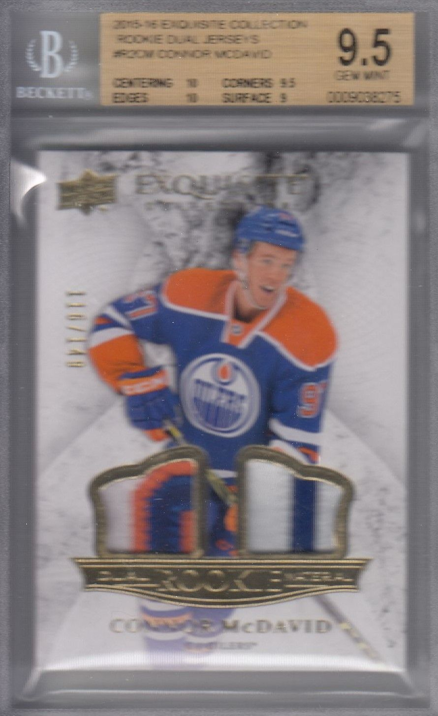 patch RC karta CONNOR McDAVID 15-16 Exquisite Dual Rookie Material /149
