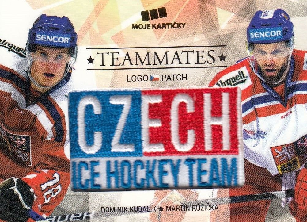 patch karta KUBALÍK/RŮŽIČKA 17-18 Czech Ice Hockey Team Teammates /50