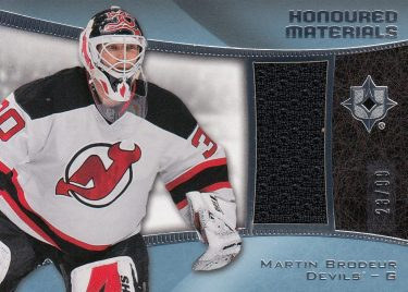 jersey karta MARTIN BRODEUR 15-16 UD Ultimate Honoured Materials /99