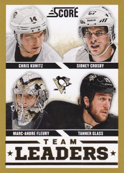 insert karta KUNITZ/CROSBY/FLEURY/GLASS 13-14 Score Team Leaders Gold