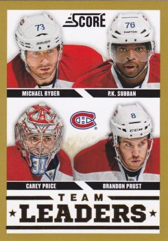 insert karta RYDER/SUBBAN/PRICE/PRUST 13-14 Score Team Leaders Gold