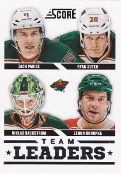 insert karta PARISE/SUTER/BACKSTROM/KONOPKA 13-14 Score Team Leaders