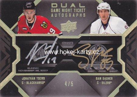 AUTO karta TOEWS/GAGNER 08-09 UD Black Dual Game Night Ticket Autographs /5