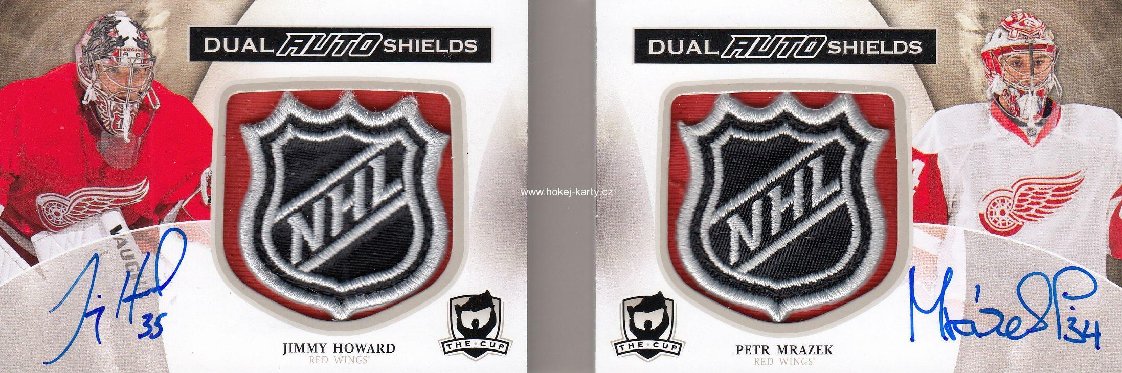 AUTO shield RC karta HOWARD/MRÁZEK 13-14 UD The Cup NHL Shields Dual 1/1