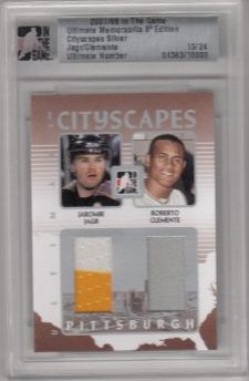 jersey karta JÁGR/CLEMENTE 07-08 ITG Ultimate Cityscapes Silver /24