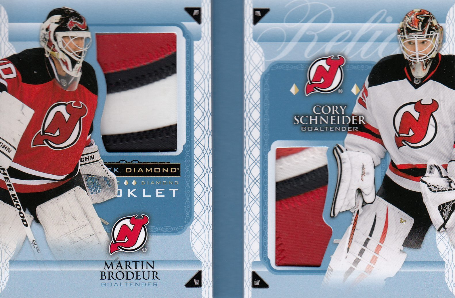 patch karta BRODEUR/SCHNEIDER 15-16 Black Diamond Booklet Relics /10