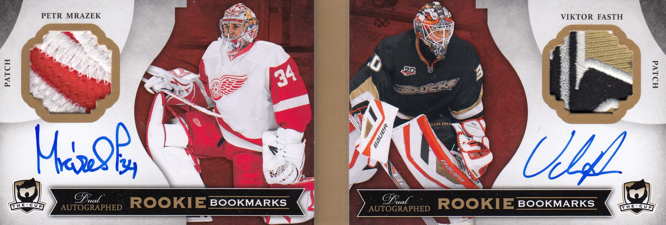 AUTO patch RC karta MRÁZEK/FASTH 13-14 UD The Cup Rookie Bookmarks Dual /25