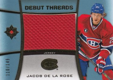 jersey RC karta JACOB DE LA ROSE 15-16 UD Ultimate Debut Threads /149