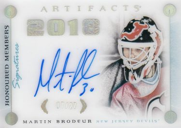 AUTO karta MARTIN BRODEUR 17-18 Artifacts Honoured Members Signatures /27