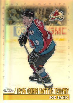insert karta JOE SAKIC 99-00 Topps Chrome Magic Moments Refractors číslo 285