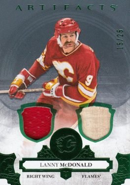 jersey stick karta LANNY McDONALD 17-18 Artifacts Legends Emerald /25
