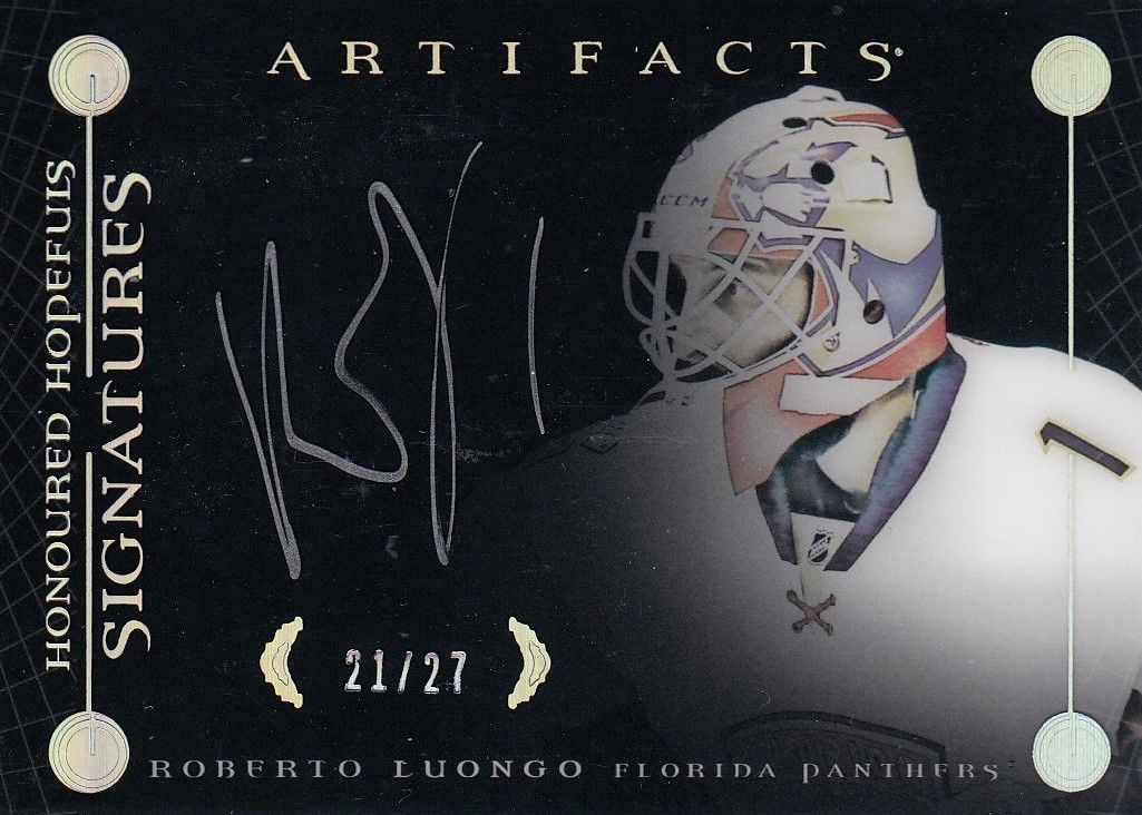 AUTO karta ROBERTO LUONGO 17-18 Artifacts Honoured Hopefuls Signatures /27