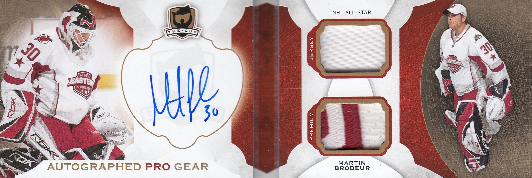 AUTO jersey patch karta MARTIN BRODEUR 16-17 UD The Cup Pro Gear /12