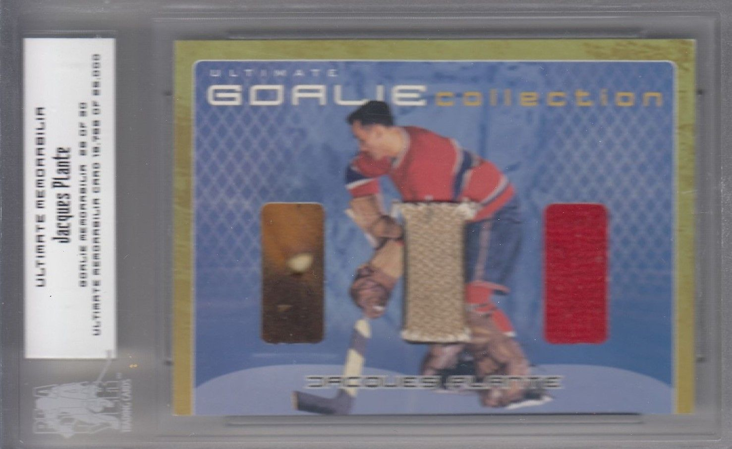 glove skate jersey karta JACQUES PLANTE 00-01 ITG Ultimate Goalie Collection /30