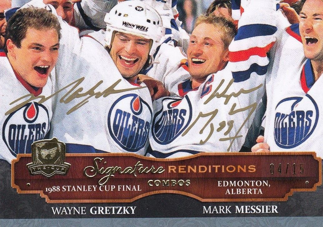 AUTO karta GRETZKY/MESSIER 13-14 UD The Cup Signature Renditions Combos /15