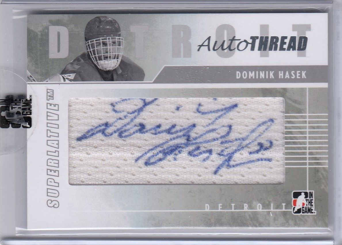 AUTO jersey karta DOMINIK HAŠEK 09-10 ITG Superlative AUTO Thread Silver /9