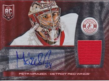 AUTO jersey RC karta PETR MRÁZEK 13-14 Totally Certified Platinum Red /50