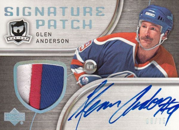 AUTO patch karta GLEN ANDERSON 05-06 UD The Cup Signature Patch /75