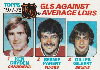 insert karta DRYDEN/PARENT/GILBERT 78-79 Topps Goals Against Average Leaders