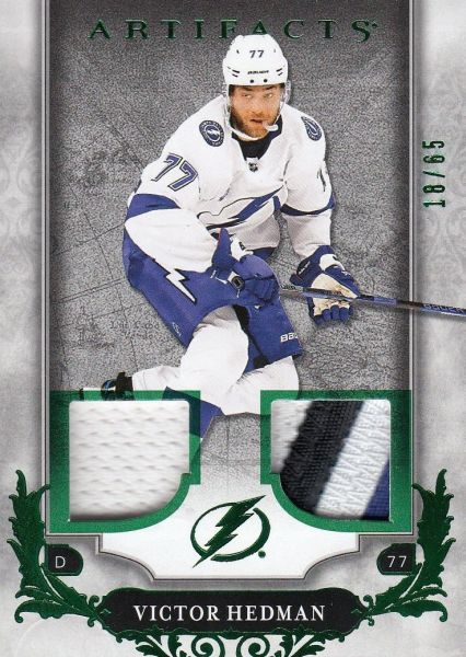 jersey patch karta VICTOR HEDMAN 18-19 Artifacts Emerald /65
