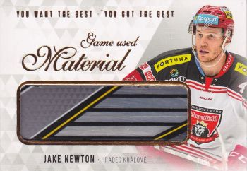 stick karta JAKE NEWTON 18-19 OFS You Want the Best Game Used Material /21