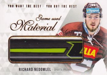 stick karta RICHARD NEDOMLEL 18-19 OFS You Want the Best Game Used Material /21