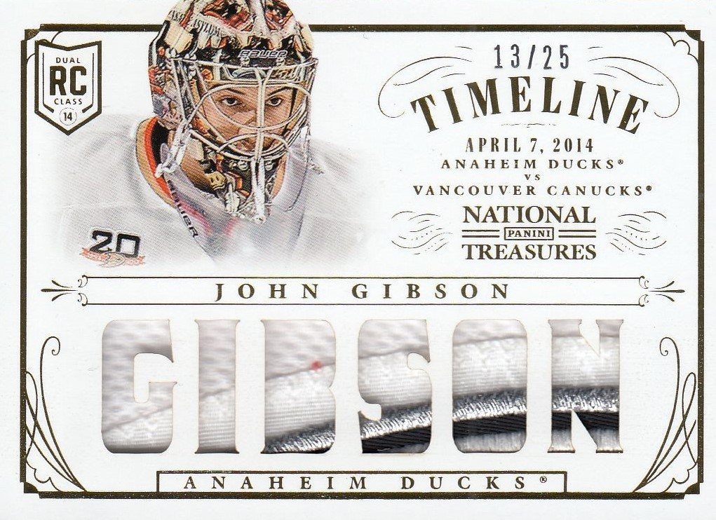patch RC karta JOHN GIBSON 13-14 National Treasures Timeline /25