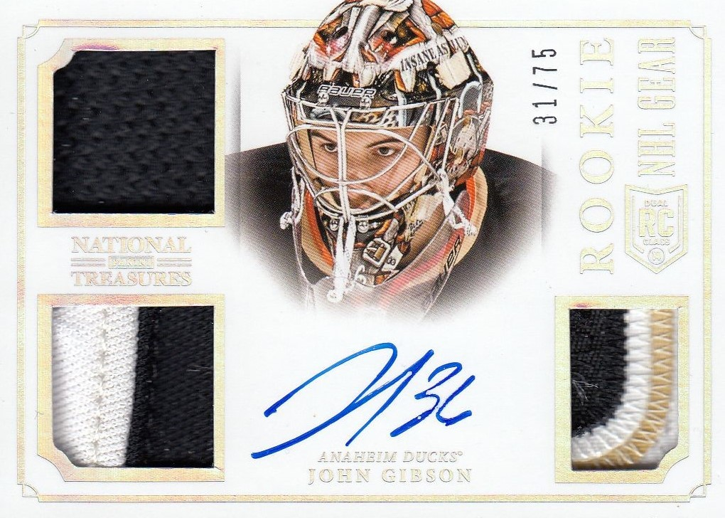 AUTO jersey patch RC karta JOHN GIBSON 13-14 National Treasures NHL Gear /75