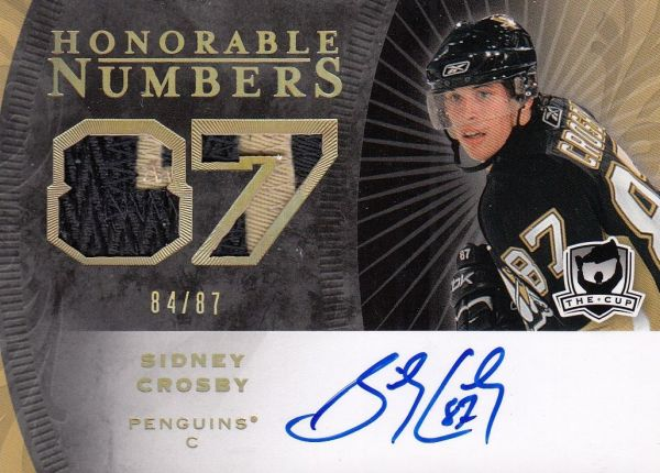 AUTO patch karta SIDNEY CROSBY 07-08 UD The CUP Honorable Numbers /87