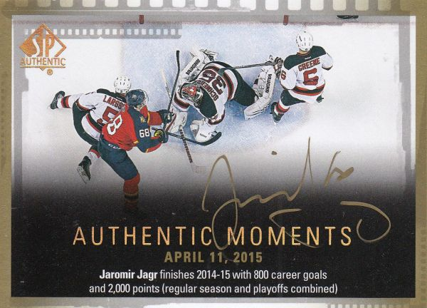 AUTO karta JAROMÍR JÁGR 15-16 SP Authentic Authentic Moments číslo 151