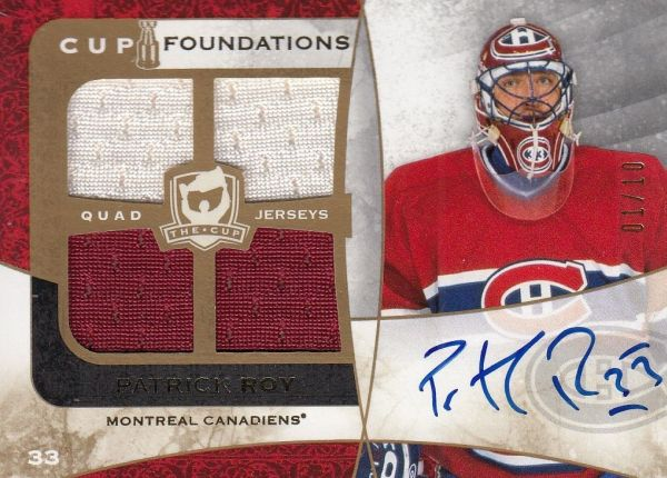 AUTO jersey karta PATRICK ROY 08-09 UD The Cup Foundations /10