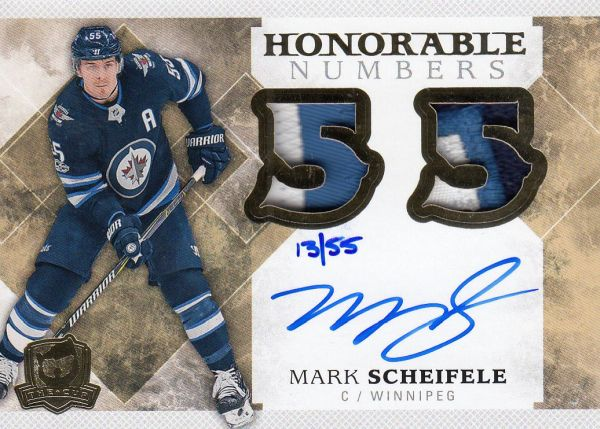 AUTO patch karta MARK SCHEIFELE 17-18 UD The Cup Honorable Numbers /55