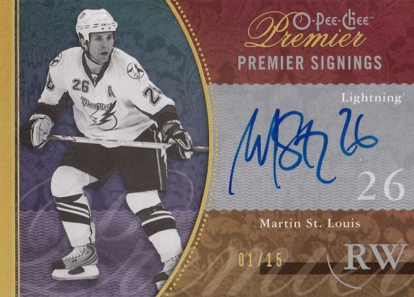 AUTO karta MARTIN ST. LOUIS 09-10 OPC Premier Signings Gold /15