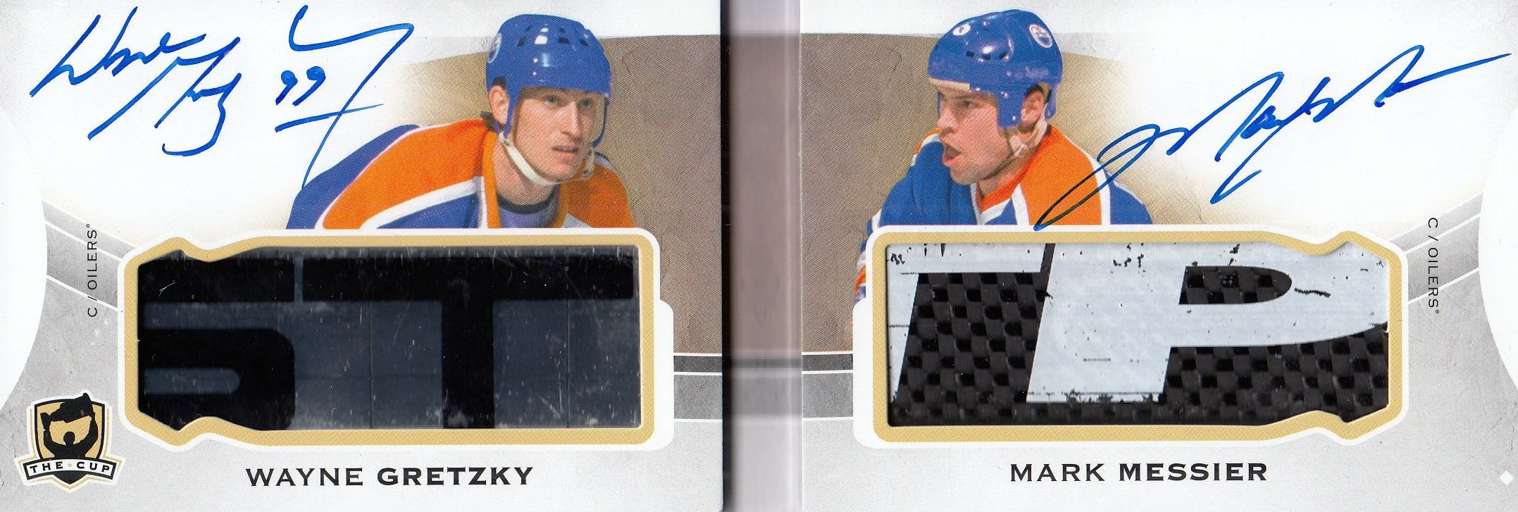 AUTO stick karta GRETZKY/MESSIER 15-16 UD The Cup Monumental Sticks Dual /5