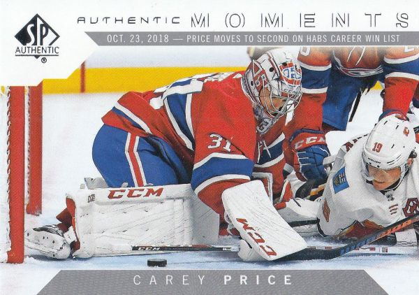 insert karta CAREY PRICE 18-19 SP Authentic Authentic Moments číslo 114