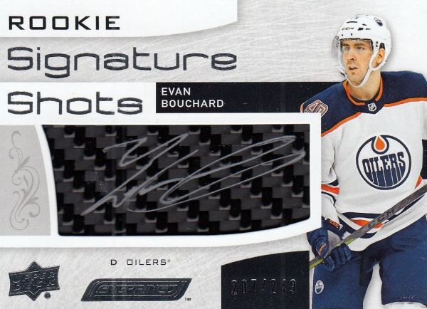 AUTO stick RC karta EVAN BOUCHARD 18-19 Engrained Rookie Signature Shots /249