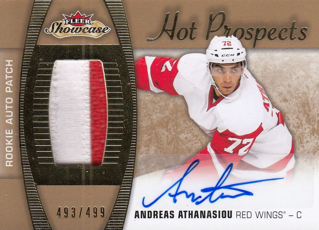 AUTO patch RC karta ANDREAS ATHANASIOU 15-16 Fleer Showcase Hot Prospects /499