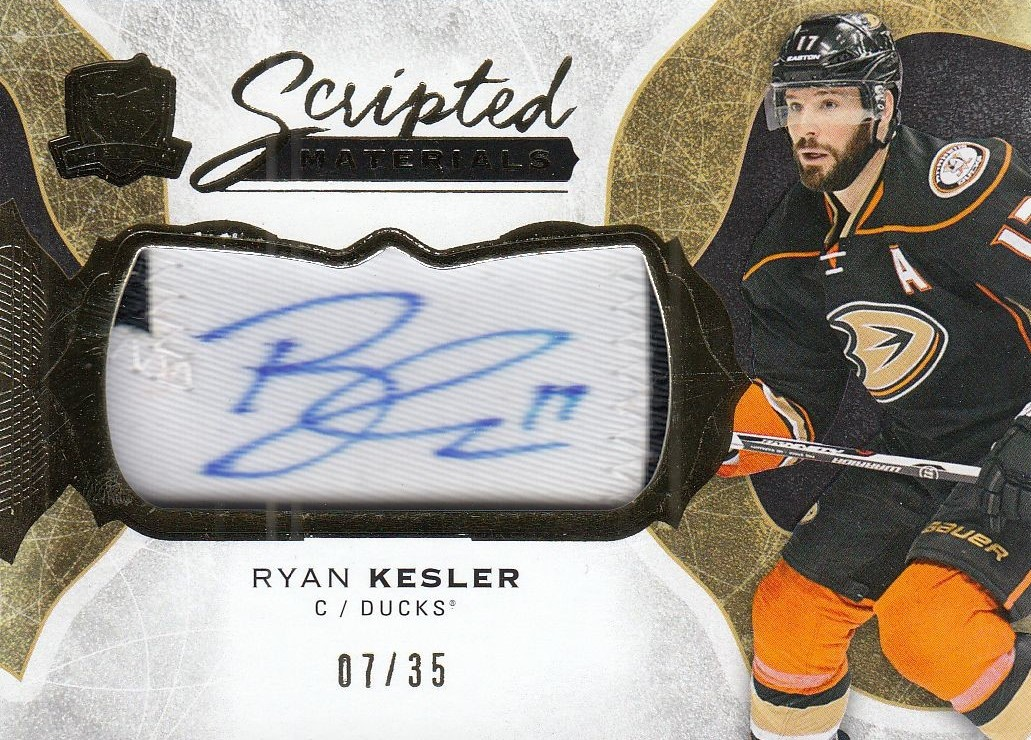 AUTO patch karta RYAN KESLER 16-17 UD The Cup Scripted Materials /35