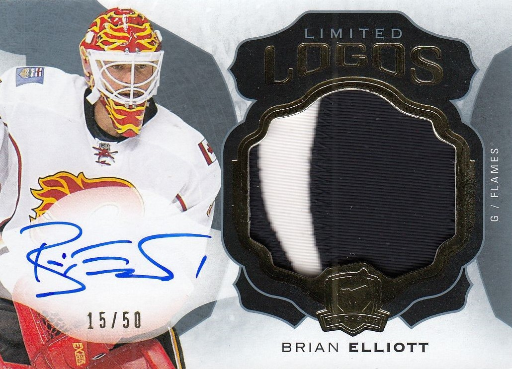 AUTO patch karta BRIAN ELLIOTT 16-17 UD The Cup Limited Logos /50