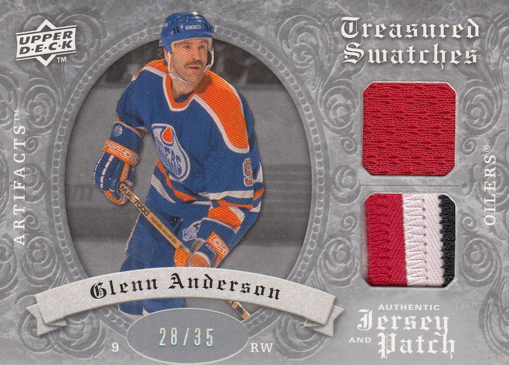 jersey patch karta GLENN ANDERSON 08-09 Artifacts Treasured Swatches Silver /35