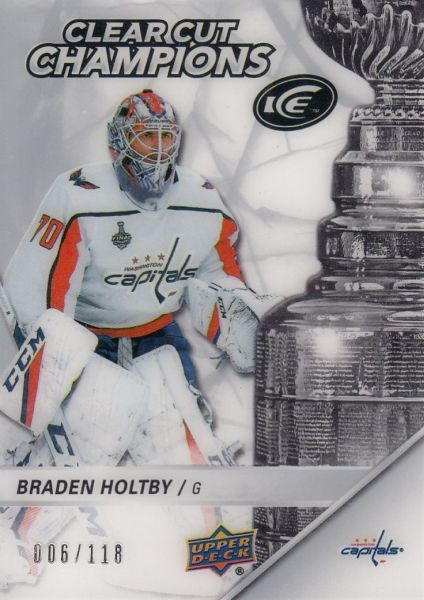 insert karta BRADEN HOLTBY 18-19 UD Ice Clear Cut Champions /118
