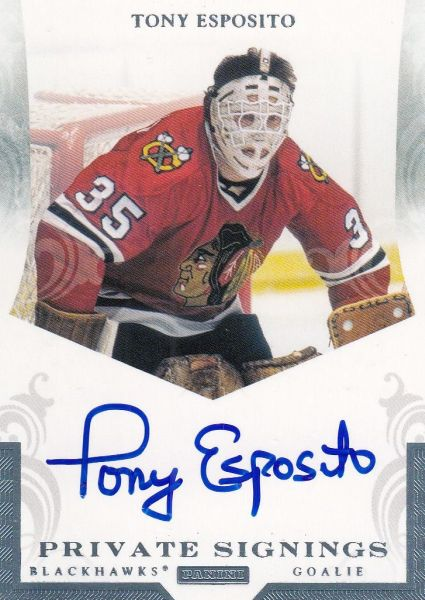 AUTO karta TONY ESPOSITO 11-12 Panini Private Signings Platinum 1/1