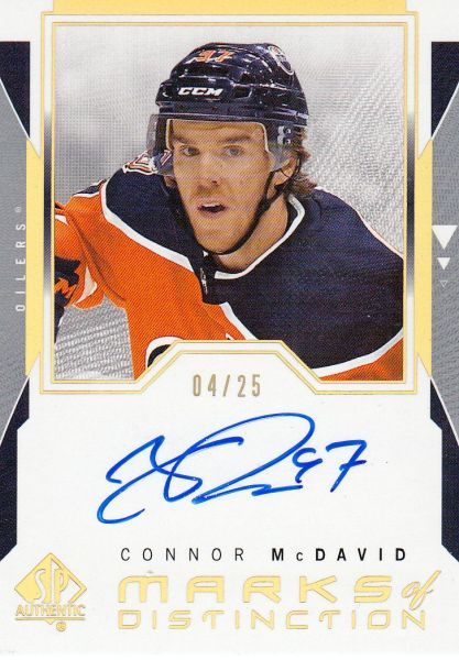 AUTO karta CONNOR McDAVID 18-19 SP Authentic Marks of Distinction /25