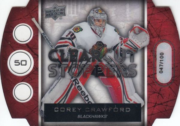 insert karta COREY CRAWFORD 13-14 UD Ser. 1 Clear Cut Stoppers /100