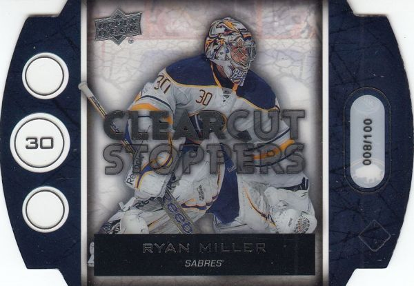 insert karta RYAN MILLER 13-14 UD Ser. 1 Clear Cut Stoppers /100