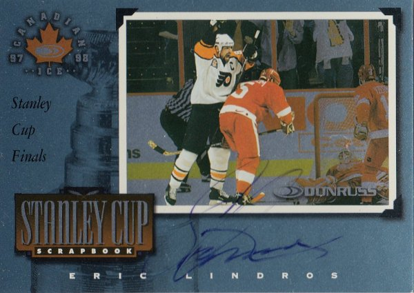 AUTO karta ERIC LINDROS 97-98 Canadian Ice Stanley Cup Scrapbook /750