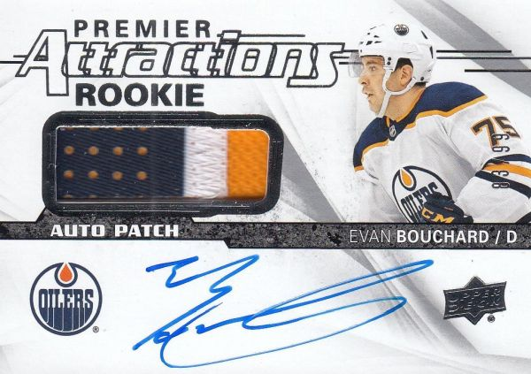 AUTO patch RC karta EVAN BOUCHARD 18-19 UD Premier Attractions Rookie /99
