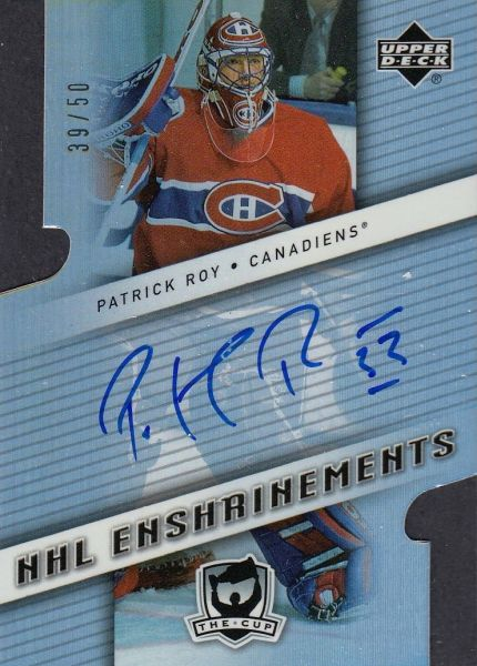 AUTO karta PATRICK ROY 06-07 UD The Cup NHL Enshrinements /50