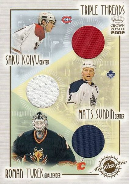jersey karta KOIVU/SUNDIN/TUREK 01-02 Crown Royale Triple Threads číslo 12
