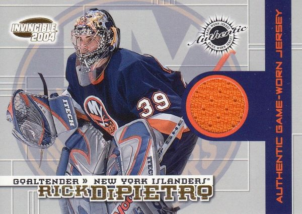 jersey karta RICK DiPIETRO 03-04 Invincible Authentic Game-Worn Jerseys /1400